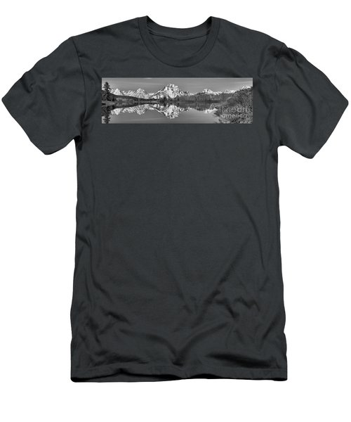 Oxbow Snake River Reflections Black And White Men's T-Shirt (Slim Fit) by Adam Jewell