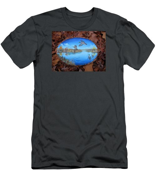 Men's T-Shirt (Slim Fit) featuring the painting Oyster Creek Flock by Kevin F Heuman