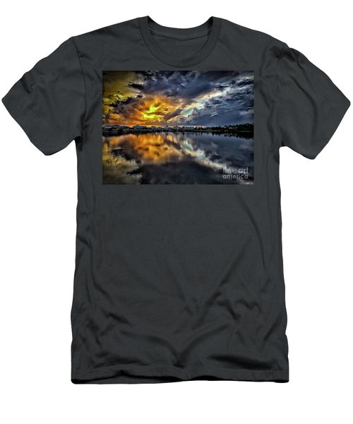 Oyster Lake Sunset Men's T-Shirt (Slim Fit) by Walt Foegelle