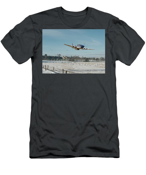 Men's T-Shirt (Slim Fit) featuring the digital art P51 Mustang - Bodney Blue Noses by Pat Speirs