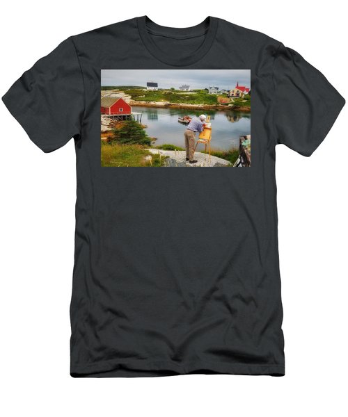 Painting Peggys Cove Men's T-Shirt (Athletic Fit)