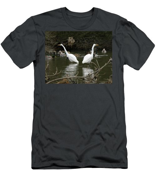 Men's T-Shirt (Slim Fit) featuring the photograph Pair Of Egrets by George Randy Bass