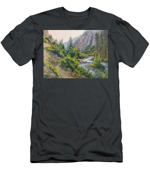 Men's T-Shirt (Slim Fit) featuring the painting Palisades Creek  by Steve Spencer