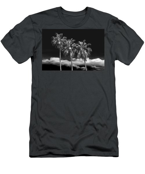 Men's T-Shirt (Slim Fit) featuring the photograph Palm Trees In Black And White On Cabrillo Beach by Randall Nyhof