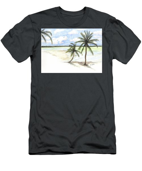 Palm Trees On The Beach Men's T-Shirt (Athletic Fit)
