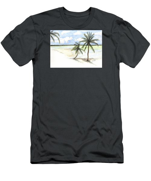 Men's T-Shirt (Athletic Fit) featuring the painting Palm Trees On The Beach by Darren Cannell