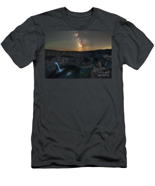 Palouse Falls Milky Way Galaxy  Men's T-Shirt (Athletic Fit)