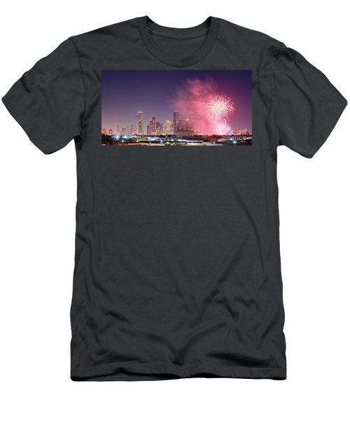 Panorama Of Downtown Houston Skyline Fireworks On The 4th Of July - Harris County Texas Men's T-Shirt (Athletic Fit)