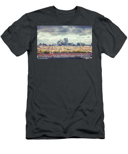 Men's T-Shirt (Athletic Fit) featuring the photograph panorama of the Hague modern city by Ariadna De Raadt