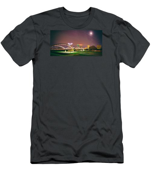 Panorama Of The Seventh Street Bridge And Downtown Fort Worth With Full Moon Above - Trinity River Men's T-Shirt (Athletic Fit)