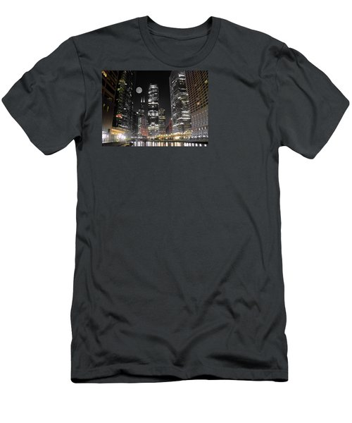 Panoramic Lakefront View In Chicago Men's T-Shirt (Slim Fit) by Frozen in Time Fine Art Photography