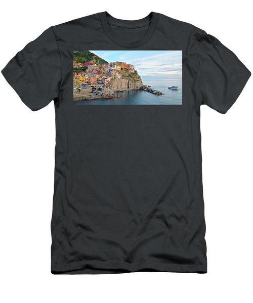 Men's T-Shirt (Slim Fit) featuring the photograph Panoramic Manarola Seascape by Frozen in Time Fine Art Photography