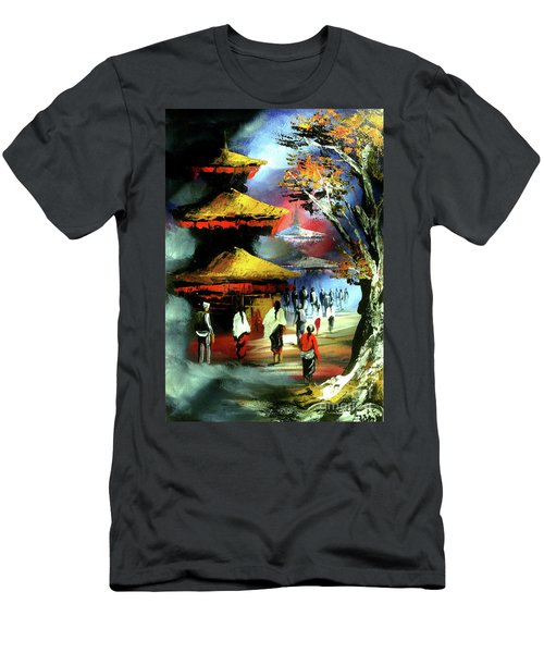 Panoramic Night View Of Nyatapola Temple  Men's T-Shirt (Athletic Fit)