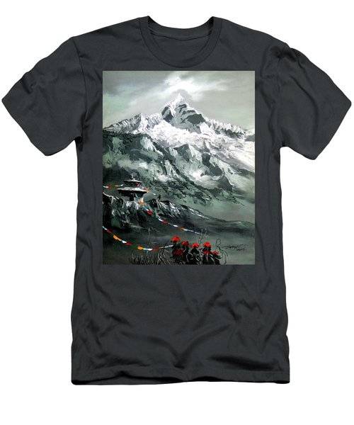 Panoramic View Of Mountain Everest Men's T-Shirt (Athletic Fit)