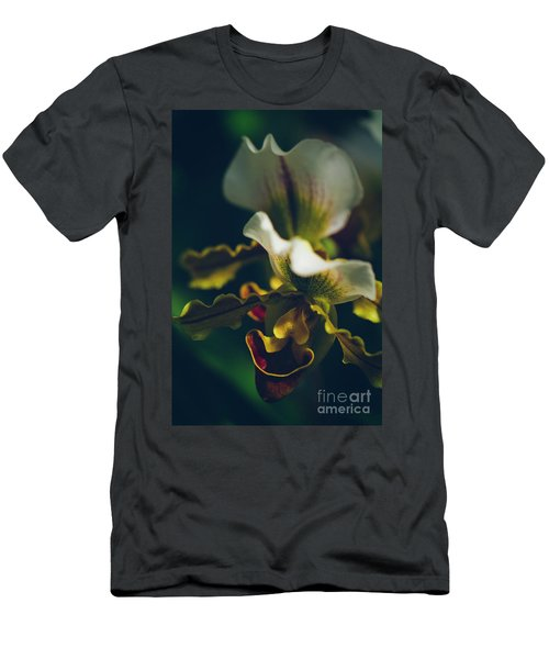 Men's T-Shirt (Slim Fit) featuring the photograph Paphiopedilum Villosum Orchid Lady Slipper by Sharon Mau