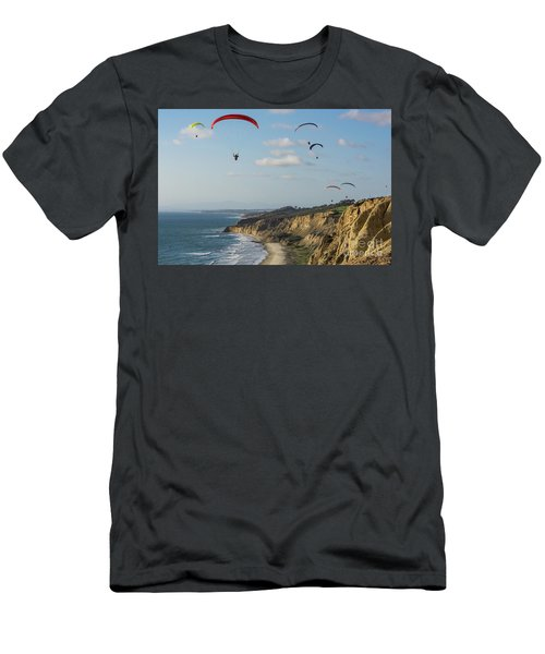Paragliders At Torrey Pines Gliderport Over Black's Beach Men's T-Shirt (Athletic Fit)