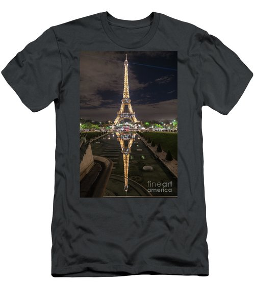 Paris Eiffel Tower Dazzling At Night Men's T-Shirt (Slim Fit) by Mike Reid
