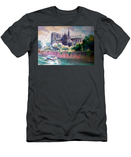 Men's T-Shirt (Slim Fit) featuring the painting Paris Notre Dame by Paul Weerasekera