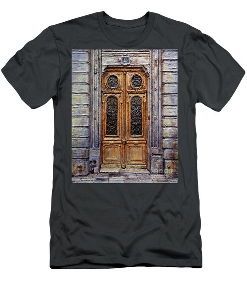 Men's T-Shirt (Slim Fit) featuring the painting Parisian Door No. 15 by Joey Agbayani