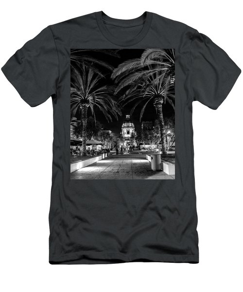 Men's T-Shirt (Slim Fit) featuring the photograph Pasadena City Hall After Dark In Black And White by Randall Nyhof