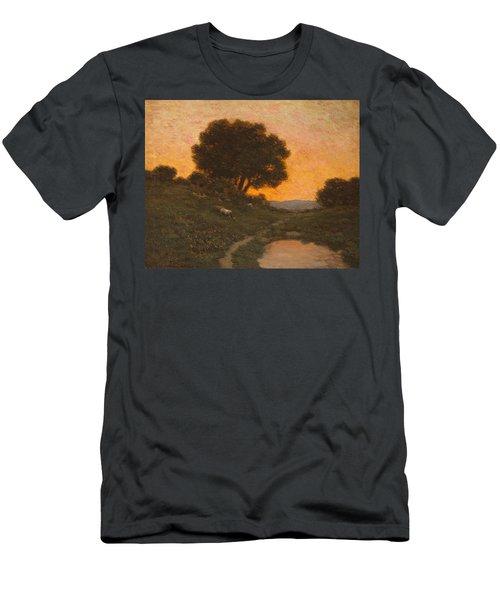 Pastoral Scene At Sunset  Men's T-Shirt (Athletic Fit)