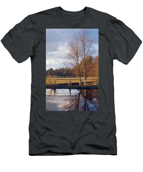 Men's T-Shirt (Slim Fit) featuring the photograph Pasture Pond by Laurie Stewart