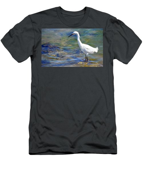 Patient Egret Men's T-Shirt (Slim Fit) by AJ Schibig