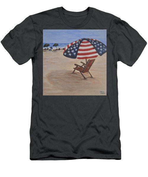Men's T-Shirt (Slim Fit) featuring the painting Patriotic Umbrella by Debbie Baker