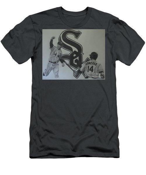 Paul Konerko Collage Men's T-Shirt (Slim Fit) by Melissa Goodrich