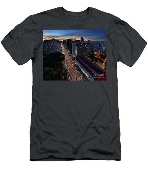 Paulista Avenue And Masp At Dusk - Sao Paulo - Brazil Men's T-Shirt (Athletic Fit)