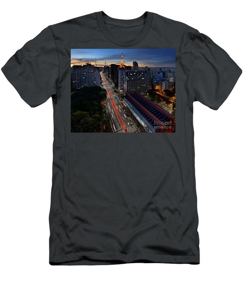 Paulista Avenue And Masp At Dusk - Sao Paulo - Brazil Men's T-Shirt (Athletic Fit)