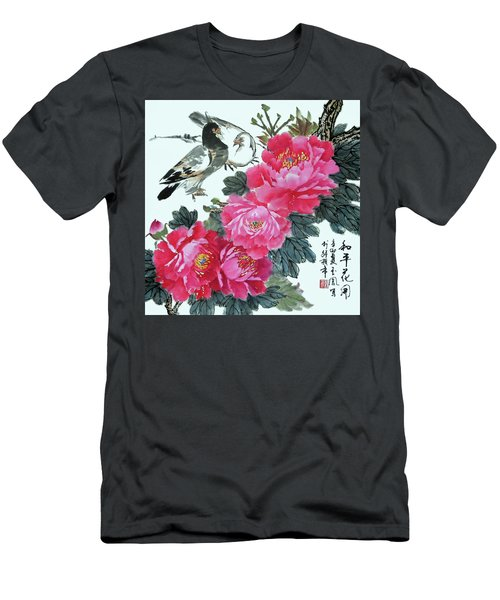 Peace Flowers Men's T-Shirt (Slim Fit) by Yufeng Wang