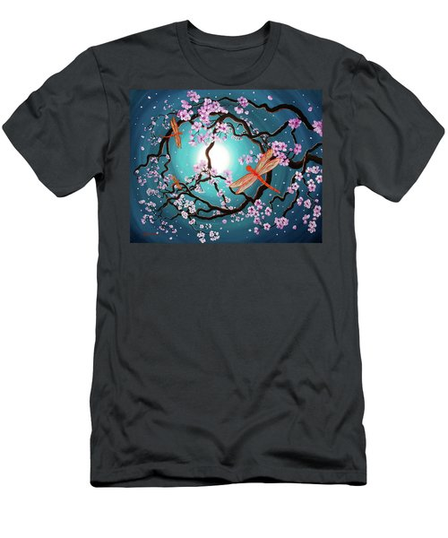 Peace Tree With Orange Dragonflies Men's T-Shirt (Slim Fit) by Laura Iverson