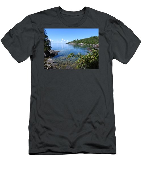 Men's T-Shirt (Slim Fit) featuring the photograph Peaceful Tranquilty_ Surrounded By Danger by Janice Adomeit