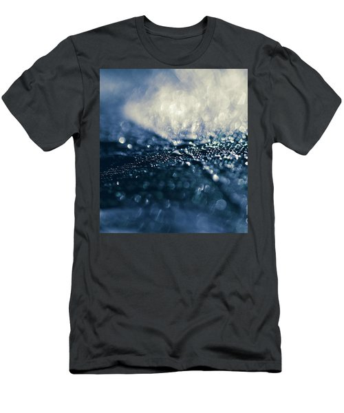 Men's T-Shirt (Slim Fit) featuring the photograph Peacock Macro Feather And Waterdrops by Sharon Mau