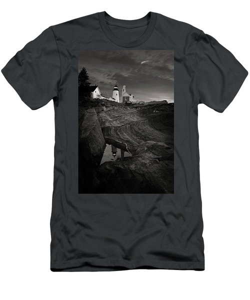 Pemaquid Lighthouse At Dawn Black And White Men's T-Shirt (Athletic Fit)