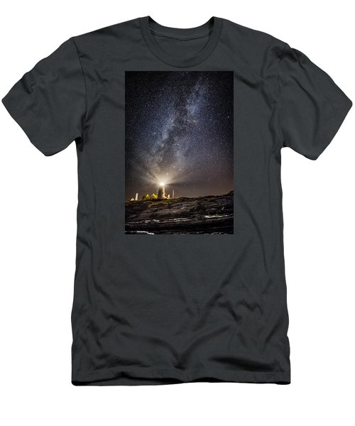 Men's T-Shirt (Slim Fit) featuring the photograph Pemaquid Point Milky Way by Robert Clifford