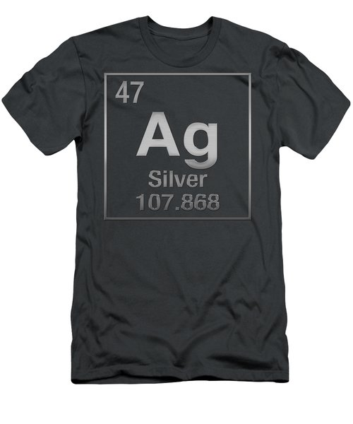 Periodic Table Of Elements - Silver - Ag - Silver On Silver Men's T-Shirt (Athletic Fit)