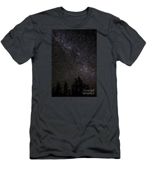 Perseid Meteor And Milky Way Men's T-Shirt (Athletic Fit)