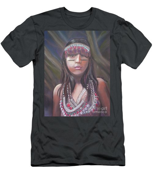 Men's T-Shirt (Slim Fit) featuring the pastel Peruvian Girl by Julie Brugh Riffey