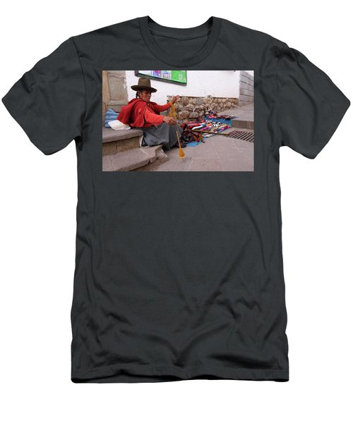 Men's T-Shirt (Slim Fit) featuring the photograph Peruvian Weaver by Aidan Moran