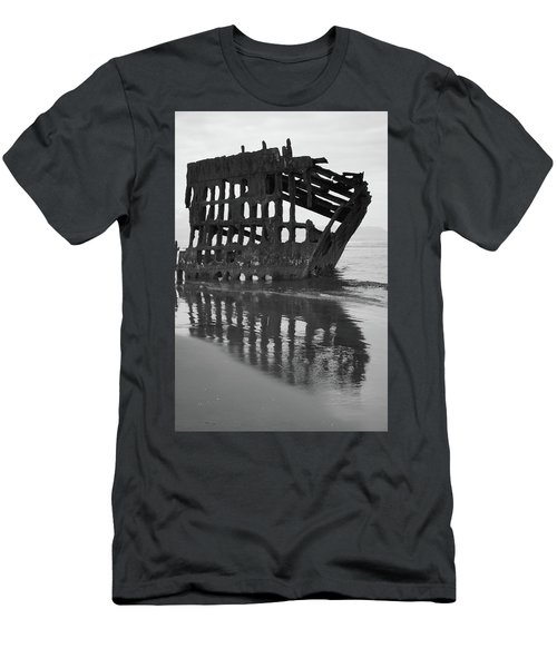 Peter Iredale Shipwreck In Black And White Men's T-Shirt (Athletic Fit)