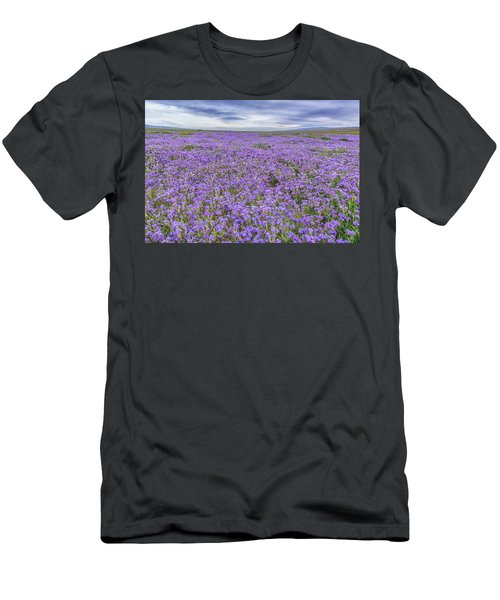 Men's T-Shirt (Slim Fit) featuring the photograph Phacelia Field And Clouds by Marc Crumpler