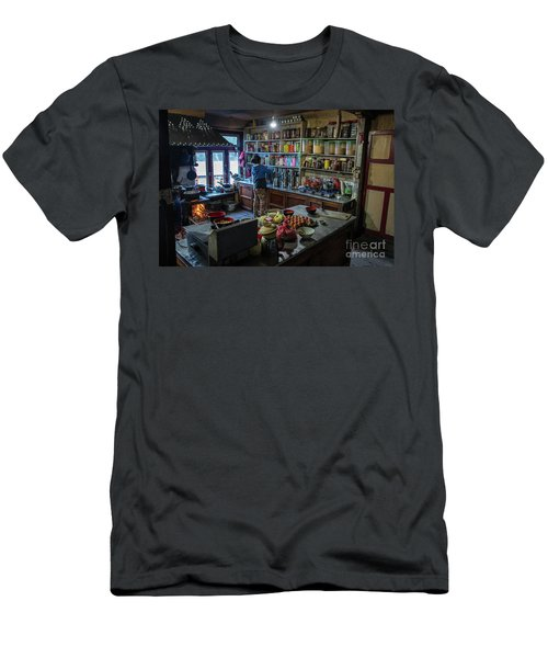 Men's T-Shirt (Slim Fit) featuring the photograph Phakding Teahouse Kitchen Morning by Mike Reid