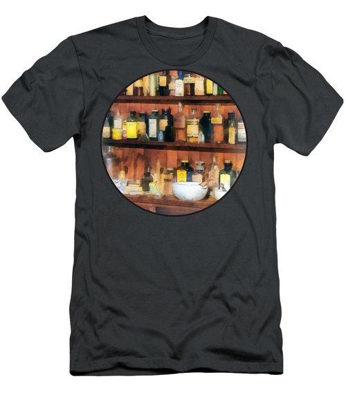 Pharmacist - Mortar Pestles And Medicine Bottles Men's T-Shirt (Slim Fit) by Susan Savad
