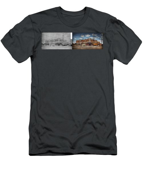 Men's T-Shirt (Athletic Fit) featuring the photograph Pharmacy - The Corner Drugstore 1910 - Side By Side by Mike Savad