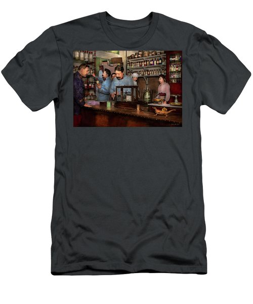 Men's T-Shirt (Athletic Fit) featuring the photograph Pharmacy - The Dispensing Chemist 1918 by Mike Savad