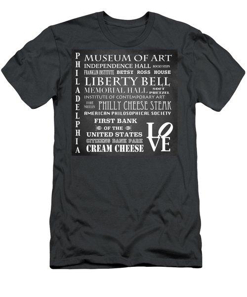 Philadelphia Famous Landmarks Men's T-Shirt (Athletic Fit)
