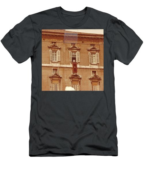 Piazza San Pietro-popes Window Men's T-Shirt (Slim Fit) by Jay Milo