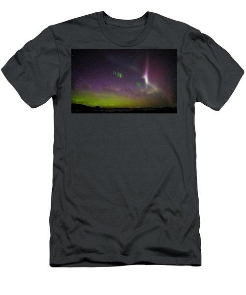 Men's T-Shirt (Slim Fit) featuring the photograph Picket Fences And Proton Arc, Aurora Australis by Odille Esmonde-Morgan